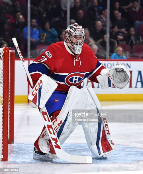 Carey Price of the Montreal Canadiens defends the goal against the Columbus Blue Jackets in the NHL game at the Bell Centre on February 28 2017 in...