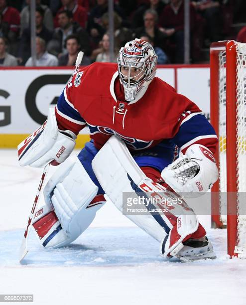 Carey Price of the Montreal Canadiens defends the goal against the New York Rangers in Game Two of the Eastern Conference Quarterfinals during the...