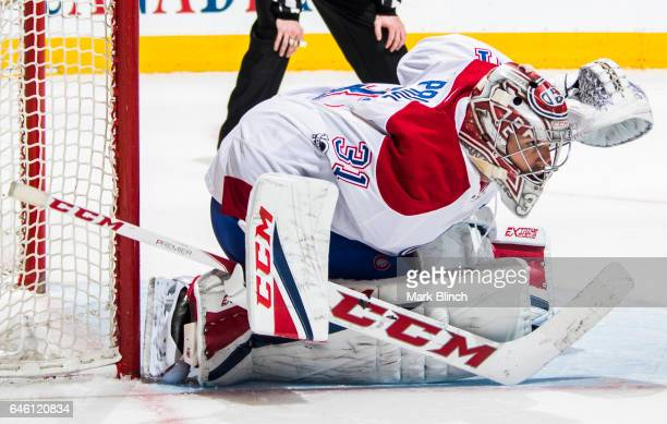 Carey Price of the Montreal Canadiens defends the net against the Toronto Maple Leafs during the third period at the Air Canada Centre on February 25...