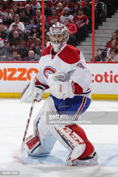 Carey Price of the Montreal Canadiens defends the net against the Ottawa Senators at Canadian Tire Centre on March 18 2017 in Ottawa Ontario Canada