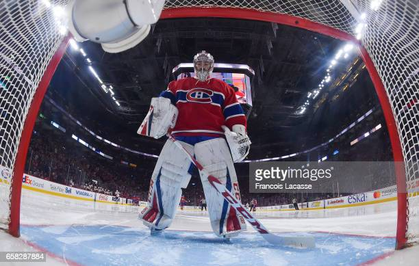 Carey Price of the Montreal Canadiens during the NHL game against the Ottawa Senators at the Bell Centre on March 25 2017 in Montreal Quebec Canada