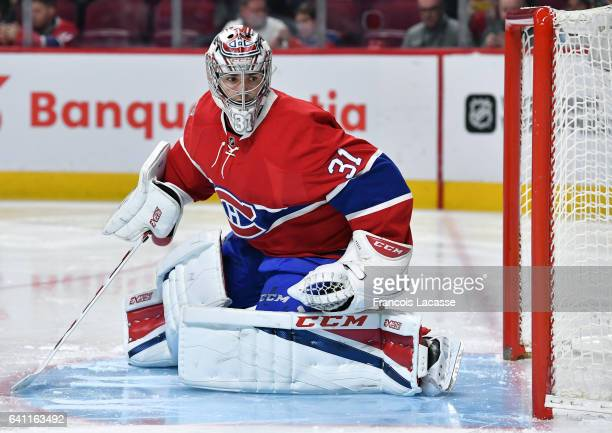 Carey Price of the Montreal Canadiens follows the play during the NHL game against the Washington Capitals in the NHL game at the Bell Centre on...