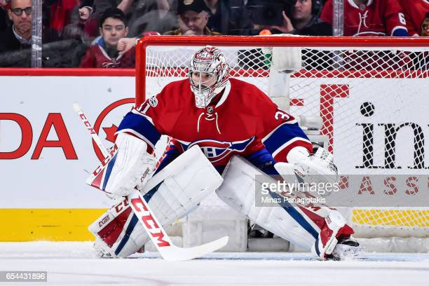 Carey Price of the Montreal Canadiens gets into position during the NHL game against the Chicago Blackhawks at the Bell Centre on March 14 2017 in...