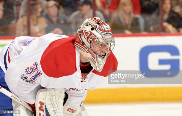 Carey Price of the Montreal Canadiens gets ready to make a save against the Arizona Coyotes at Gila River Arena on February 9 2017 in Glendale Arizona