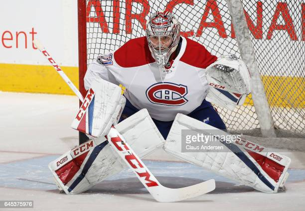 Carey Price of the Montreal Canadiens gets set to face a shot during warmup prior to playing against the Toronto Maple Leafs in an NHL game at the...