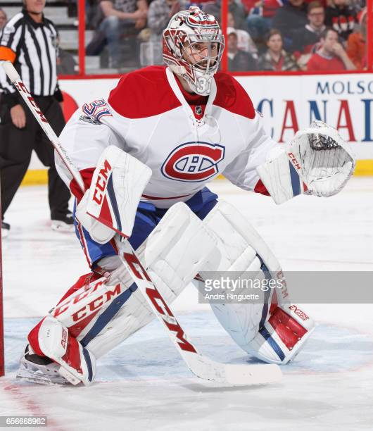 Carey Price of the Montreal Canadiens guards his net against the Ottawa Senators at Canadian Tire Centre on March 18 2017 in Ottawa Ontario Canada