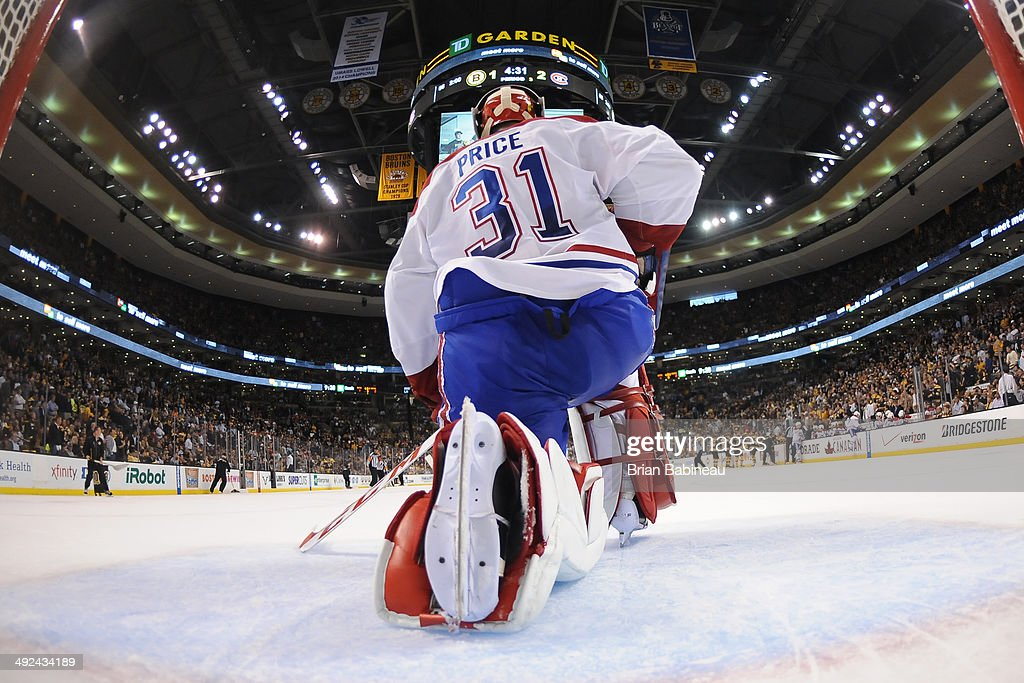 Carey Price #31 of the Montreal Canadiens in the net against the Boston Bruins in Game Seven of the Second Round of the 2014 Stanley Cup Playoffs at TD Garden on May 14, 2014 in Boston, Massachusetts.