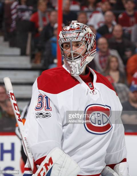 Carey Price of the Montreal Canadiens looks on as he guards his net against the Ottawa Senators at Canadian Tire Centre on March 18 2017 in Ottawa...
