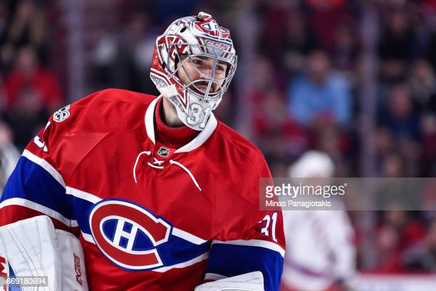 Carey Price of the Montreal Canadiens looks on as he skates against the New York Rangers in Game Two of the Eastern Conference First Round during the...