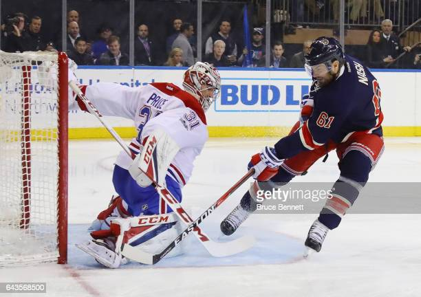 Carey Price of the Montreal Canadiens make sthe second period save on Rick Nash of the New York Rangers at Madison Square Garden on February 21 2017...