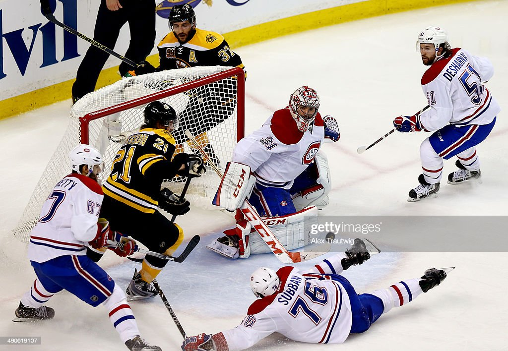 Carey Price #31 of the Montreal Canadiens makes a save against the Boston Bruins during Game Seven of the Second Round of the 2014 NHL Stanley Cup Playoffs at the TD Garden on May 14, 2014 in Boston, Massachusetts.