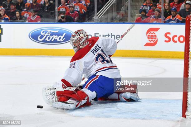 Carey Price of the Montreal Canadiens makes a save during the game against the Montreal Canadiens on March 12 2017 at Rogers Place in Edmonton...