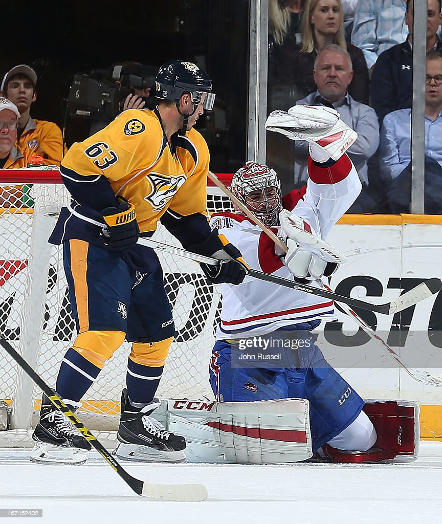 Carey Price #31 of the Montreal Canadiens makes glove save against Mike Ribeiro #63 of the Nashville Predators during an NHL game at Bridgestone Arena on March 24, 2015 in Nashville, Tennessee.