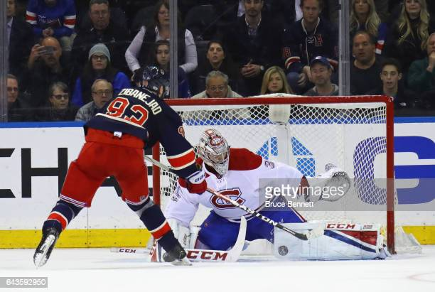Carey Price of the Montreal Canadiens makes the shootout save on Mika Zibanejad of the New York Rangers at Madison Square Garden on February 21 2017...