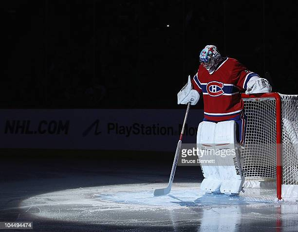 Carey Price of the Montreal Canadiens prepares for his game against the Florida Panthers at the Bell Centre on September 27 2010 in Montreal Canada