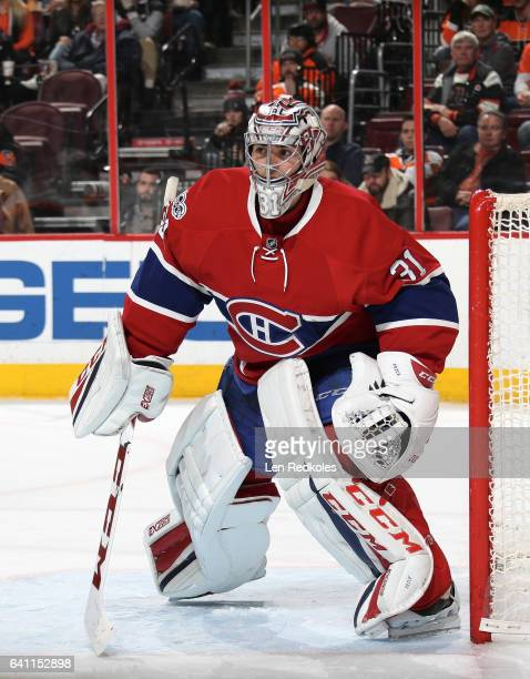 Carey Price of the Montreal Canadiens prepares to stop a shot on goal against the Philadelphia Flyers on February 2 2017 at the Wells Fargo Center in...