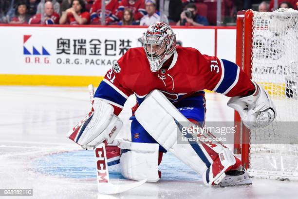 Carey Price of the Montreal Canadiens protects his net against the New York Rangers in Game One of the Eastern Conference First Round during the 2017...