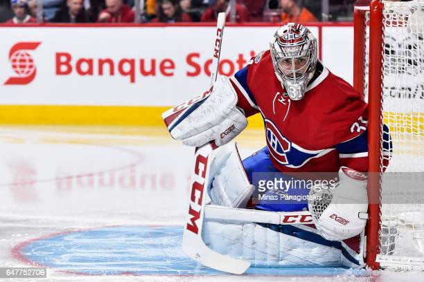 Carey Price of the Montreal Canadiens protects his net during the NHL game against the Nashville Predators at the Bell Centre on March 2 2017 in...