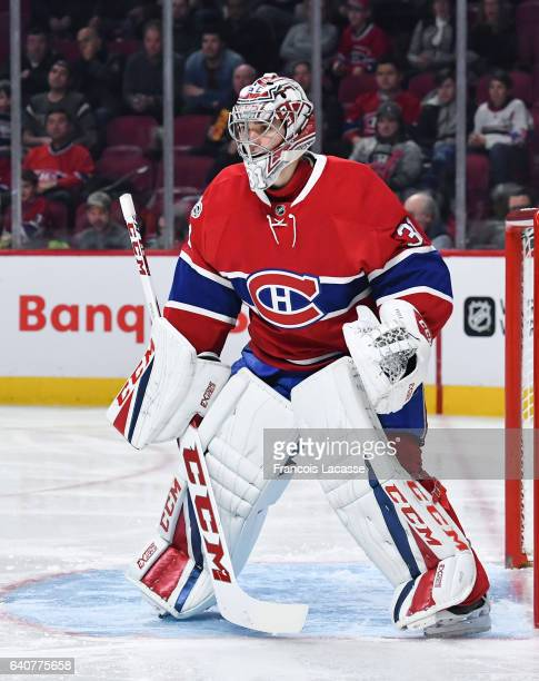 Carey Price of the Montreal Canadiens protects the goal against the Buffalo Sabres in the NHL game at the Bell Centre on January 31 2017 in Montreal...