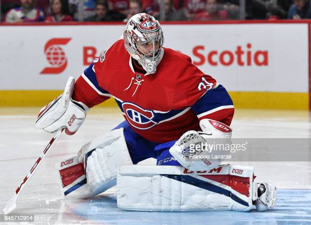 Carey Price of the Montreal Canadiens protects the goal against the Winnipeg Jets in the NHL game at the Bell Centre on February 18 2017 in Montreal...