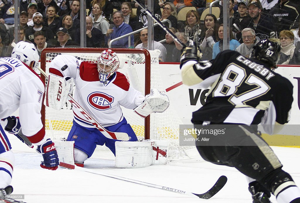 <a gi-track='captionPersonalityLinkClicked' href=/galleries/search?phrase=Carey+Price&family=editorial&specificpeople=2222083 ng-click='$event.stopPropagation()'>Carey Price</a> #31 of the Montreal Canadiens protects the net against the Pittsburgh Penguins during the game at Consol Energy Center on March 26, 2013 in Pittsburgh, Pennsylvania.