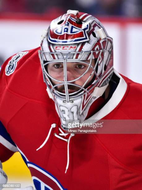Carey Price of the Montreal Canadiens remains focused as he defends his net against the New York Rangers in Game Two of the Eastern Conference First...