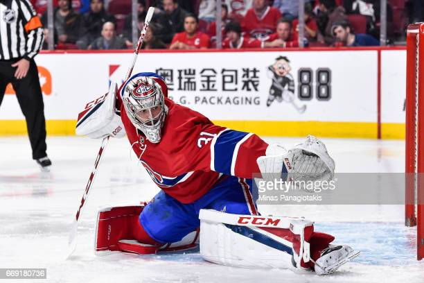 Carey Price of the Montreal Canadiens stretches out the glove against the New York Rangers in Game Two of the Eastern Conference First Round during...