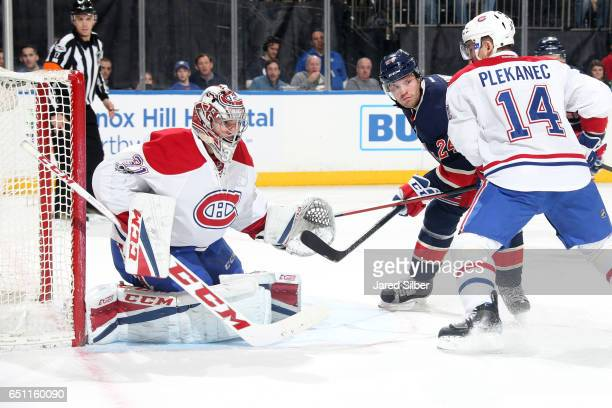 Carey Price of the Montreal Canadiens tends the net against the New York Rangers at Madison Square Garden on March 4 2017 in New York City The...