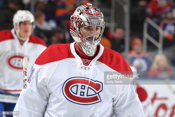 Carey Price of the Montreal Canadiens warms up prior to the game against the Edmonton Oilers on March 12 2017 at Rogers Place in Edmonton Alberta...