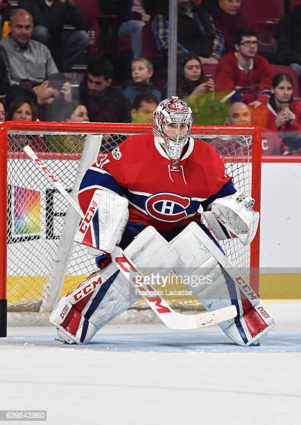 Carey Price of the Montreal Canadiens warms up prior to the NHL game against the Buffalo Sabres at the Bell Centre on January 21 2017 in Montreal...