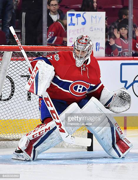 Carey Price of the Montreal Canadiens warms up prior to the NHL game against the Calgary Flames in the NHL game at the Bell Centre on January 24 2017...