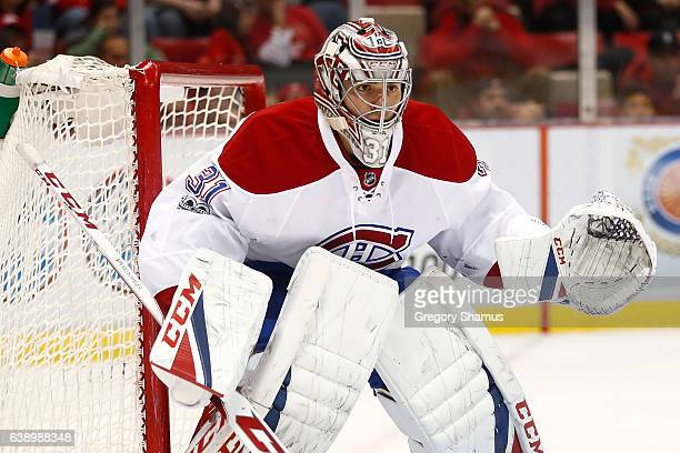 Carey Price of the Montreal Canadiens watches the puck while playing the Detroit Red Wings at Joe Louis Arena on January 16 2017 in Detroit Michigan