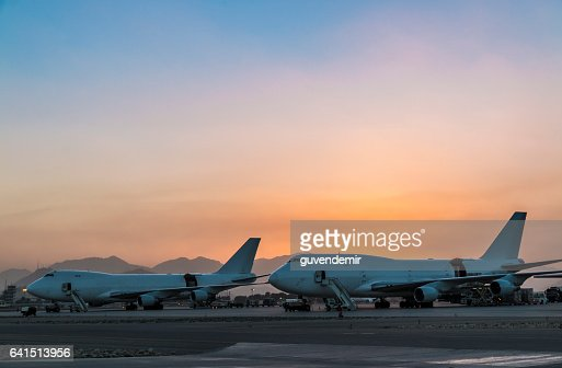 Cargo Airplanes  at sunset