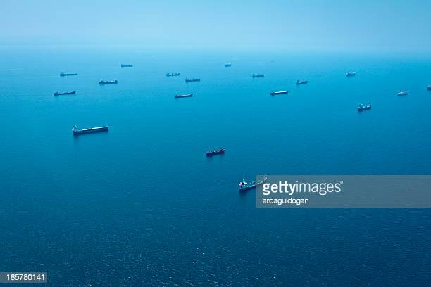 Cargo Container Ships Aerial View