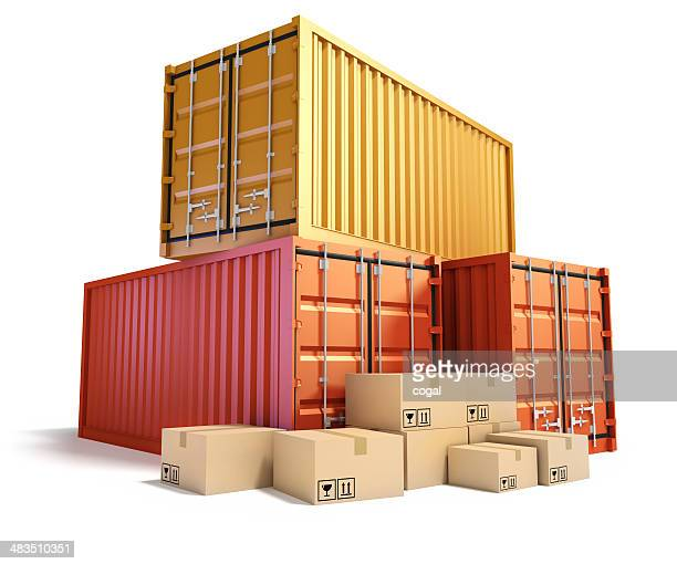 Cargo Containers and cardboard boxes.