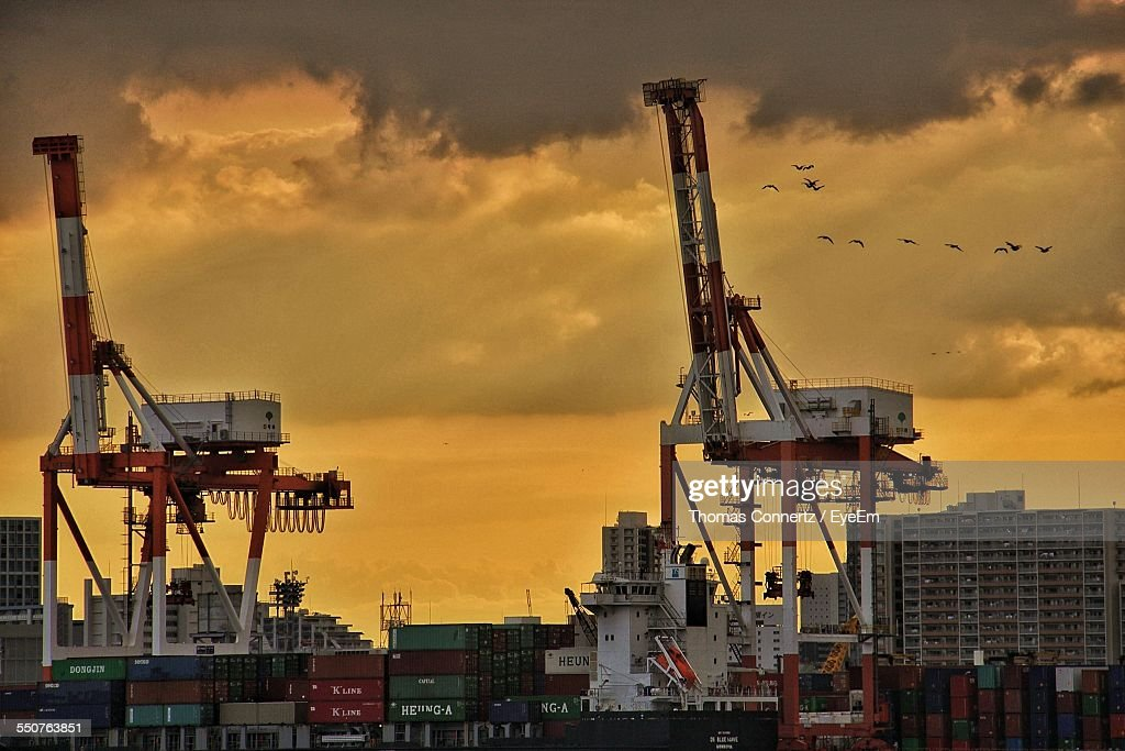 Cargo Containers On Commercial Dock