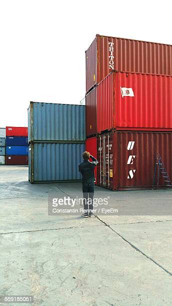 Cargo Containers On Dock