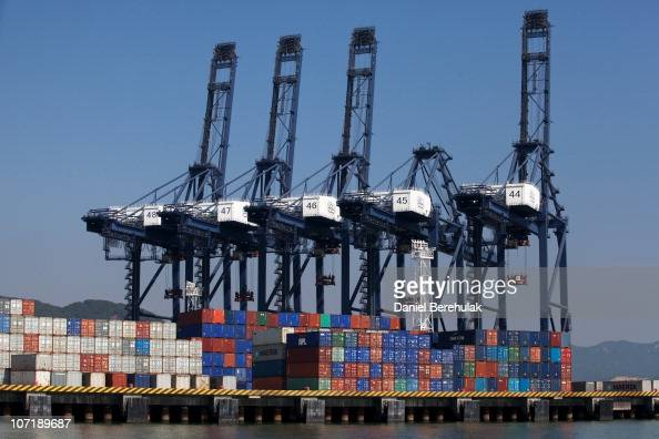 Cargo containers sit on the dock of Shenzhen Port on November 28 2010 in Shenzhen China According to the US Commercial Service Shenzhen is one of the...