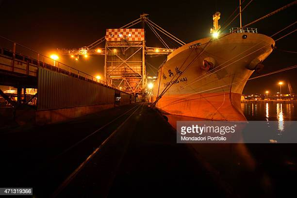 Cargo for carrying supplies coming in and out of the Ilva iron and steel plant in Taranto during a photo shooting Taranto Italy 14th November 2006