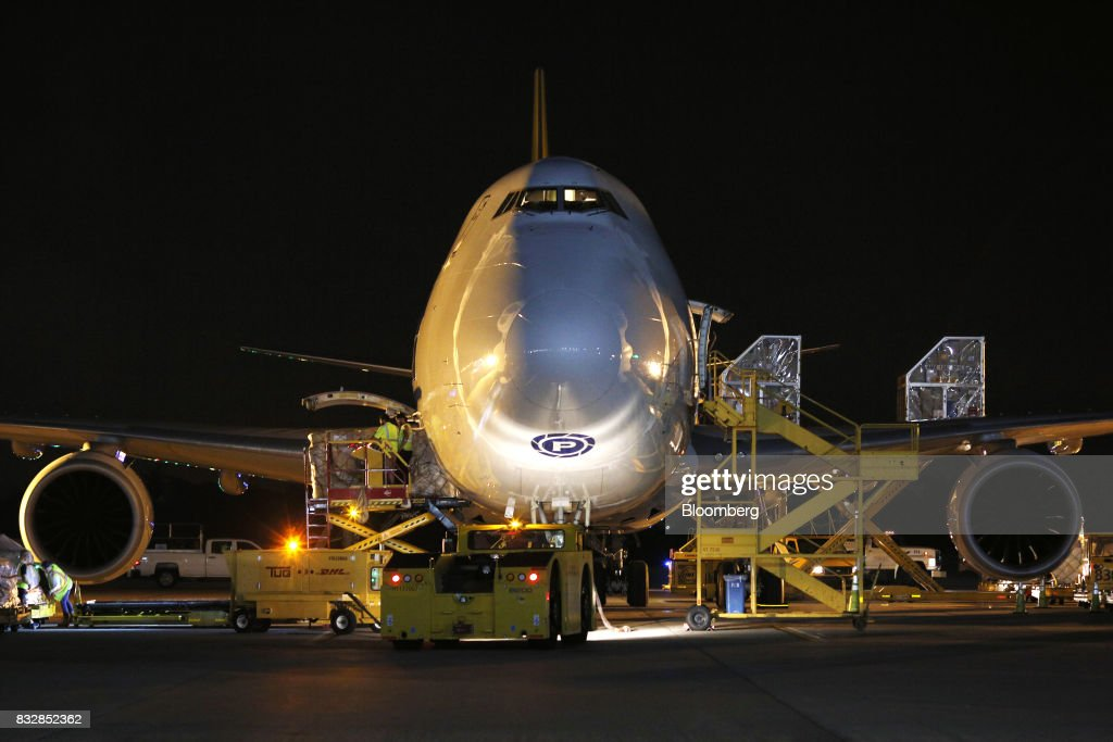 A 747 cargo jet sits parked at the DHL Worldwide Express hub of Cincinnati/Northern Kentucky International Airport in Hebron, Kentucky, U.S., on Wednesday, Aug. 16, 2017. The Deutsche Post AG, parent company to Worldwide Express, second-quarter operating profit jumped 12 percent as the German mail operator handled more express deliveries and won more business at its logistics unit. Photographer: Luke Sharrett/Bloomberg via Getty Images