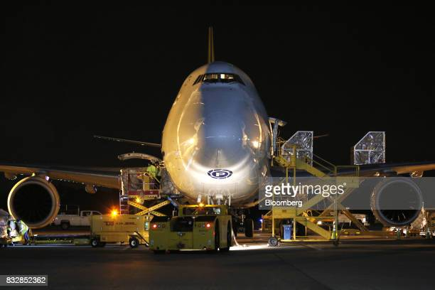 A 747 cargo jet sits parked at the DHL Worldwide Express hub of Cincinnati/Northern Kentucky International Airport in Hebron Kentucky US on Wednesday...