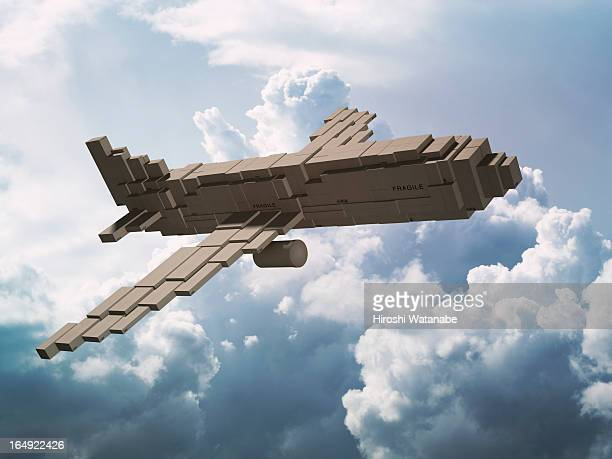 Cargo plane made out of cardboard boxes