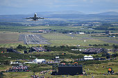 A cargo plane takes off from Prestwick Airport during the first round on day one of the 145th Open Championship at Royal Troon on July 14 2016 in...