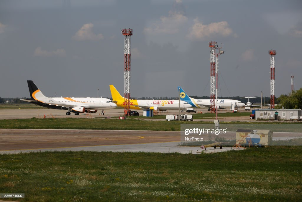 "Cargo planes are seen at The International Airport 'Boryspil' on 21 August 2017 in Kiev, Ukraine. Because of the increasing of The International Airport ""Boryspil"" passengers traffic up to 18.8% the past year, the management of airport decided to improve the infrastructure and to implement seven large infrastructure projects in the country's largest airport for a total of about $ 500 million over the next five years."