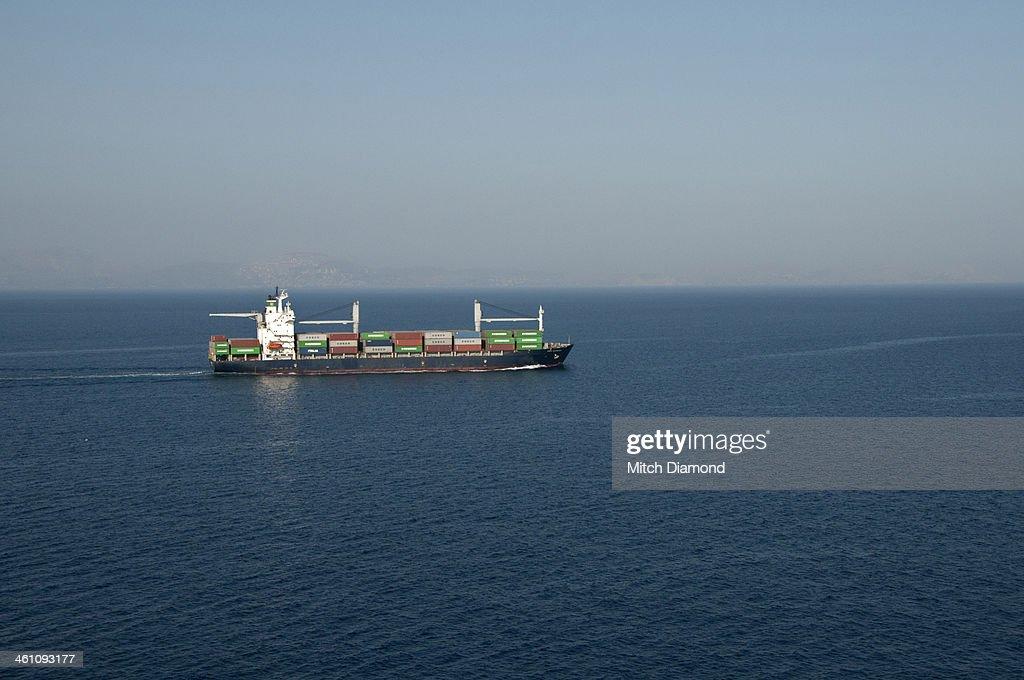 cargo ship at sea : Stock Photo