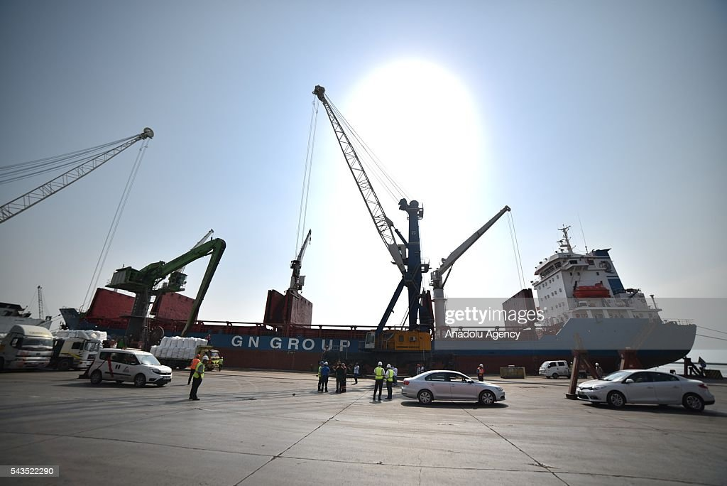 A cargo ship called 'Lady Leyla', which is to transport humanitarian aid from Turkey to Gaza as part of the agreement reached between Turkey and Israel, is anchored at Mersin International Port in Mersin, Turkey on June 29, 2016. Toys as Eid gifts for the Gazan children, plus 11,000 tons of food aid formed of flour, rice, sugar and food boxes brought by truck from collection centres as part of a joint AFAD (Disaster and Emergency Management Presidency of Turkey) and Red Crescent project have begun to be loaded onto the ship by winch. The aid ship will go directly to the city of Ashdod in Israel from Mersin International Port.