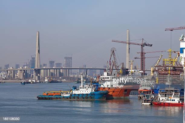 cargo ship in industrial port of Tianjin
