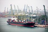 Cargo ship in singapore harbour