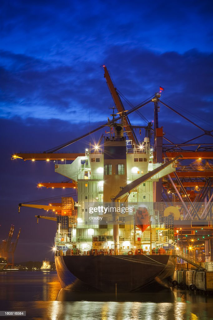 Cargo Ship in the Harbor : Stock Photo