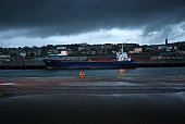 Cargo ship moored in the Port of Cork, Ireland